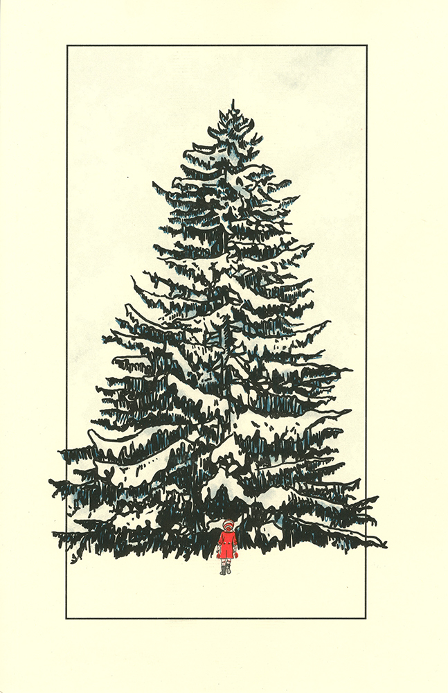 child standing in front of tree print